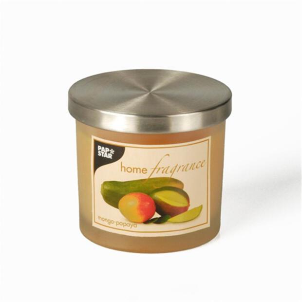 Duftkerze im Glas Ø 84 mm · 75 mm orange - Mango-Papaya satiniert, mit Metalldeckel
