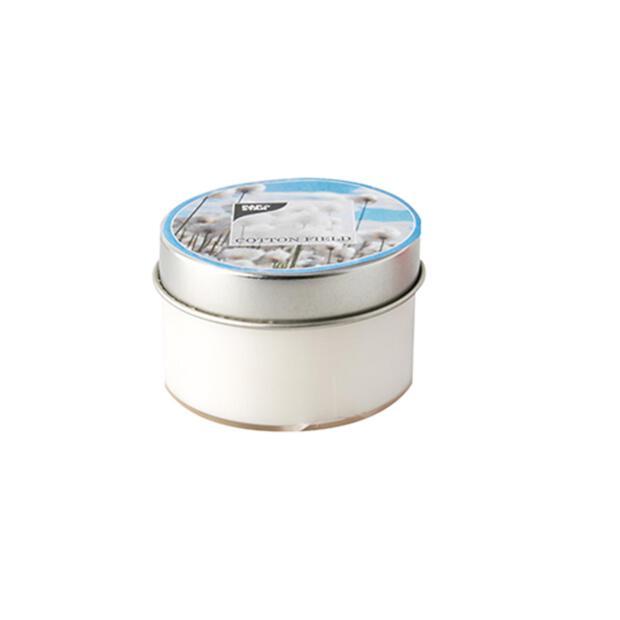 Duftkerze in Polycarbonathülle Ø 70 mm · 40 mm weiss - Cotton Field mit Metalldeckel