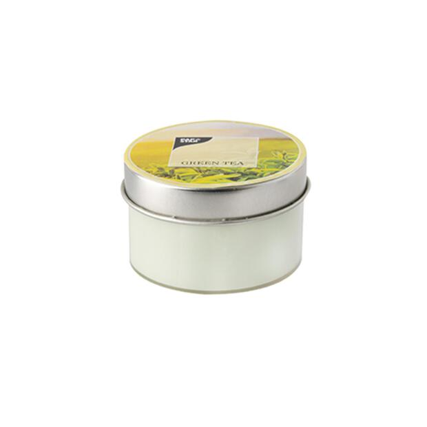 Duftkerze in Polycarbonathülle Ø 70 mm · 40 mm hellgrün - Green Tea mit Metalldeckel