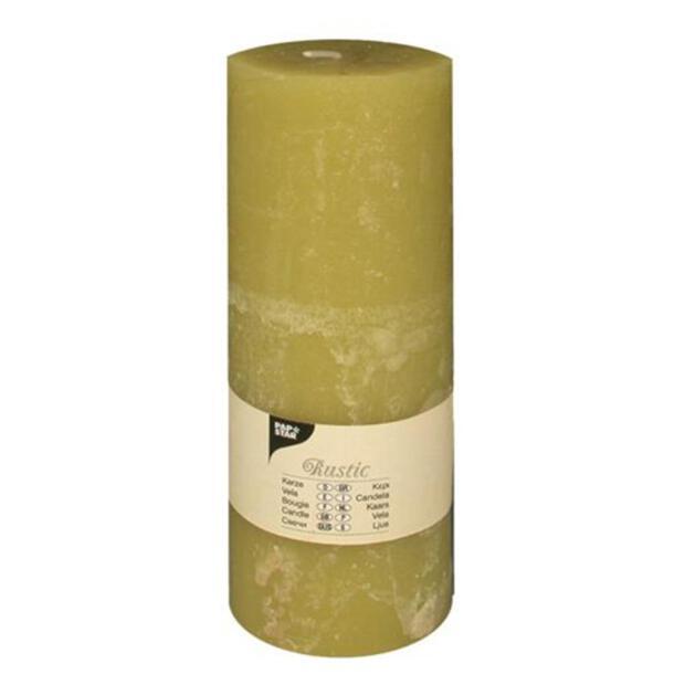 "Zylinderkerze Ø 70 mm · 190 mm kiwi ""Rustic"" durchgefärbt"