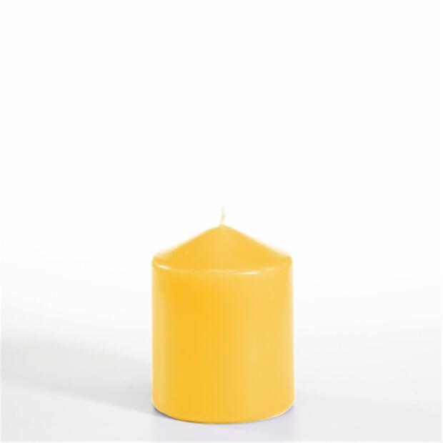 Stumpenkerze Ø 80 mm · 100 mm goldgelb