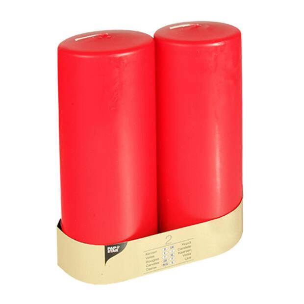 2 Stumpenkerzen Ø 80 mm · 220 mm rot mit Flachkopf