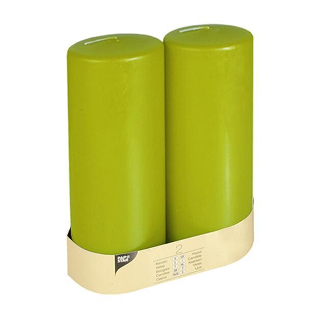 2 Stumpenkerzen Ø 80 mm · 220 mm kiwi mit Flachkopf
