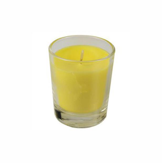 Glas mit Wachsfüllung Ø 56 mm · 67 mm gelb