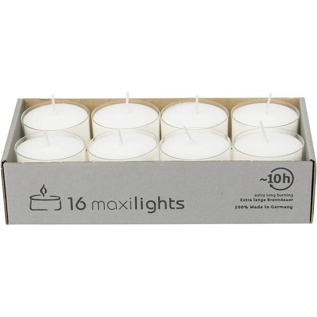 16 Maxilichte ca. 10h Teelichter in transparenter Hülle