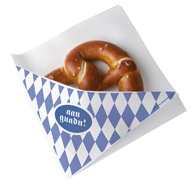 Papstar 50 Snackservietten, stoffähnlich, Airlaid 1/4-Falz 32,5 cm x 30,5 cm weiss Bayrisch Blau