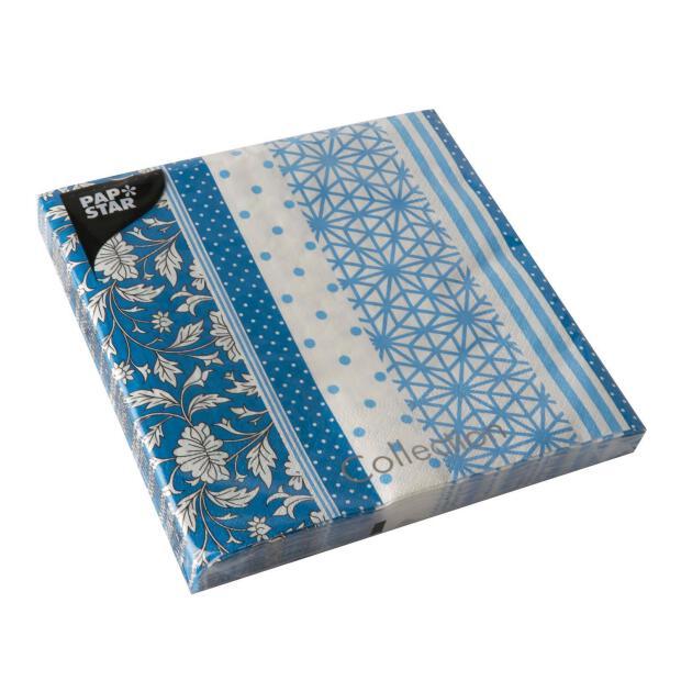 Papstar 20 Servietten, 3-lagig 1/4-Falz 40 cm x 40 cm blau Patch