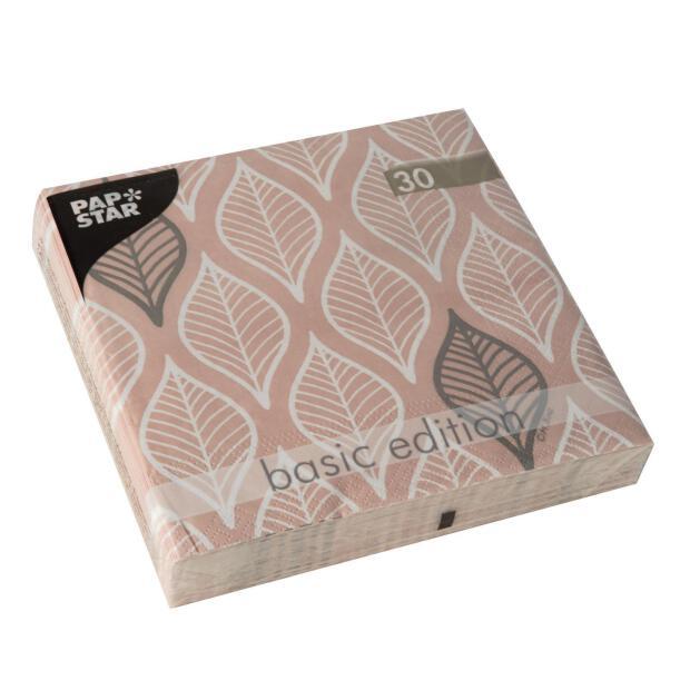 Papstar 30 Servietten, 3-lagig 1/4-Falz 33 cm x 33 cm rosa Leafy