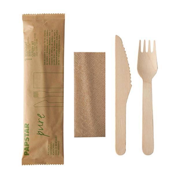 Papstar 50x Besteckset, Holz pure natur : Messer, Gabel, Serviette in Papierbeutel