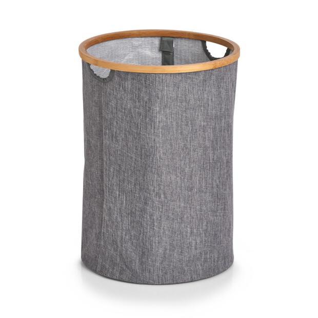 Wäschesammler, Kunstleinen/Bamboo, grau ca. Ø 36 x 50 cm