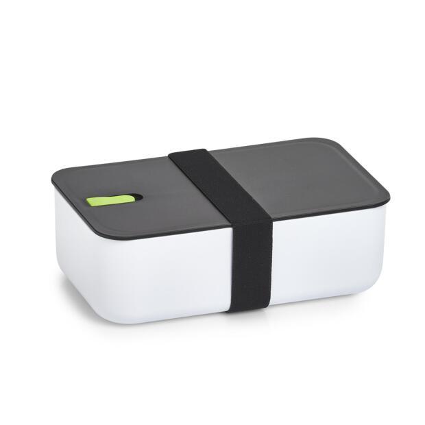 Lunch Box, Kunststoff, weiß/schwarz/grün ca. 19 x 12 x 6,5 cm