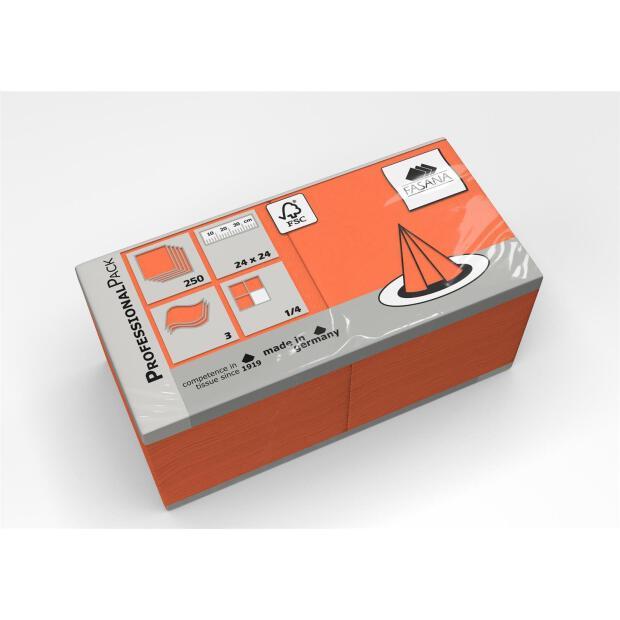 250 Servietten Fasana 24 x 24 cm 3 Lagig 1/4 Falzung orange