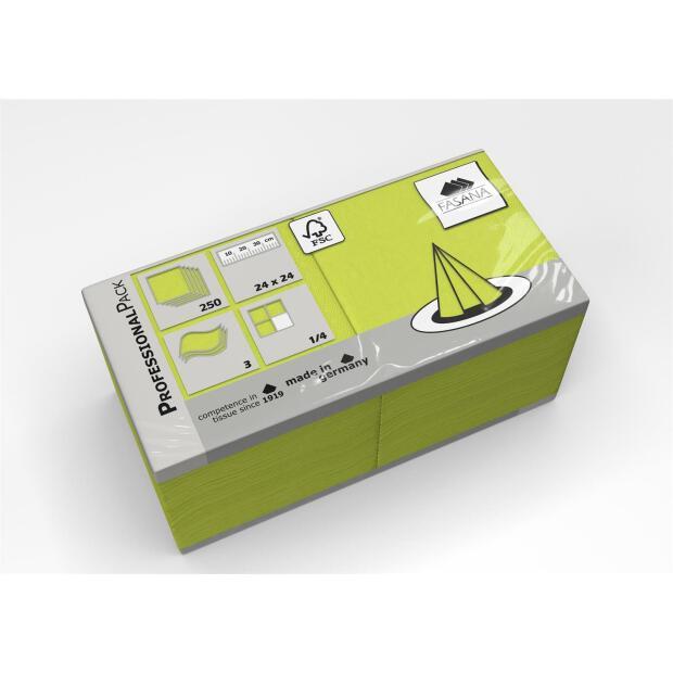 250 Servietten Fasana 24 x 24 cm 3 Lagig 1/4 Falzung lime green