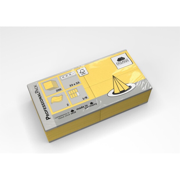 250 Servietten Fasana 33 x 33 cm 2 Lagig 1/8 Falzung gelb