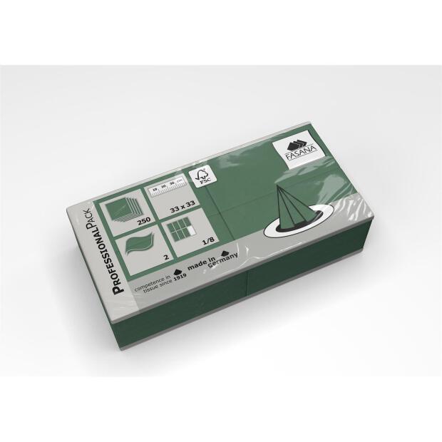 250 Servietten Fasana 33 x 33 cm 2 Lagig 1/8 Falzung grün
