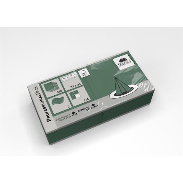 250 Servietten Fasana 33 x 33 cm 2 Lagig 1/4 Falzung smaragdgrün