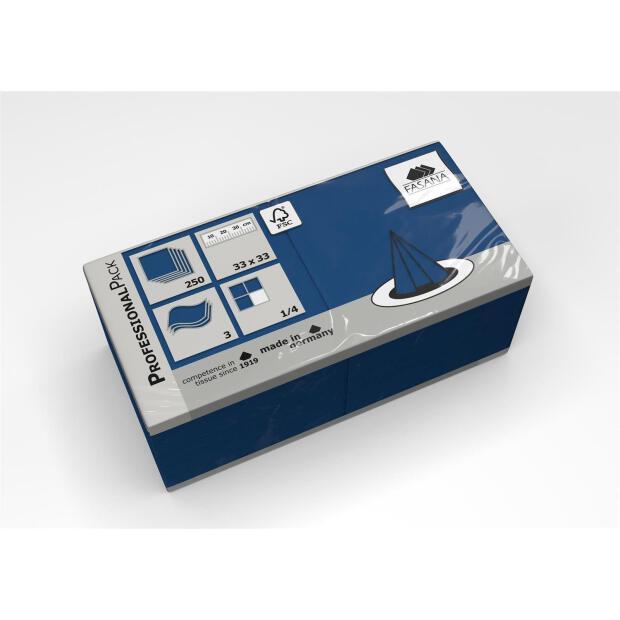 250 Servietten Fasana 33 x 33 cm 3 Lagig 1/4 Falzung blau