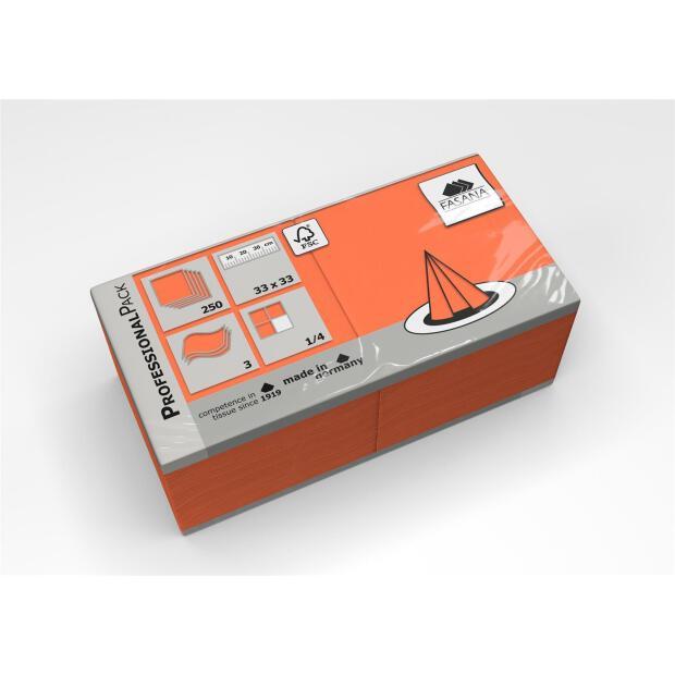 250 Servietten Fasana 33 x 33 cm 3 Lagig 1/4 Falzung orange