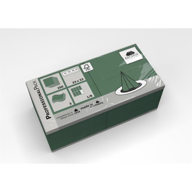 250 Servietten Fasana 33 x 33 cm 3 Lagig 1/8 Falzung smaragdgrün