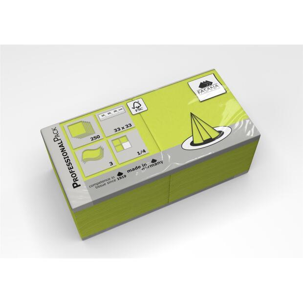 250 Servietten Fasana 33 x 33 cm 3 Lagig 1/4 Falzung lime green