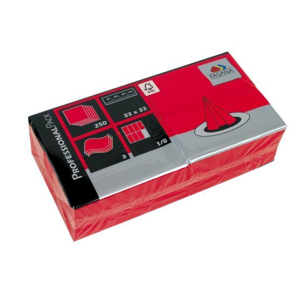 Serviette 33 x 33 cm 2 Lagig 1/8 Falzung rot 1500 Stück