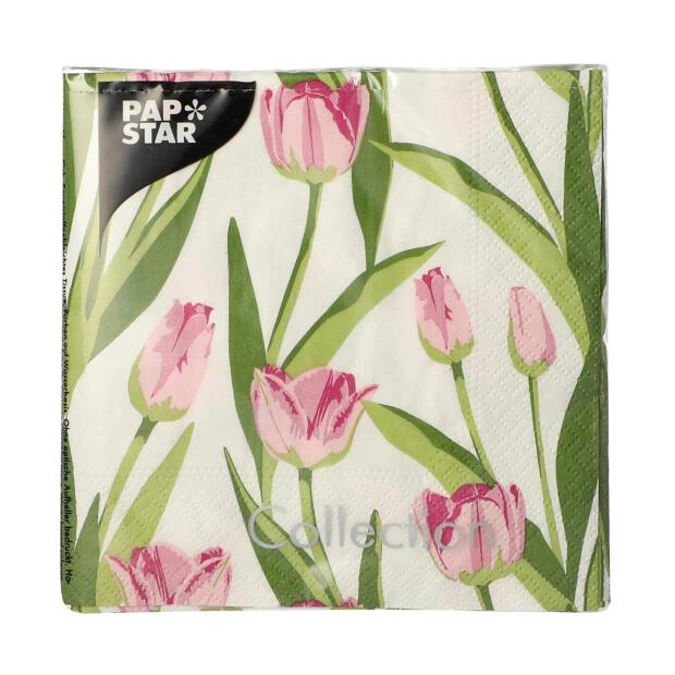 20 Servietten Motiv: rosa Tulpen, 25x25cm 3-lagig
