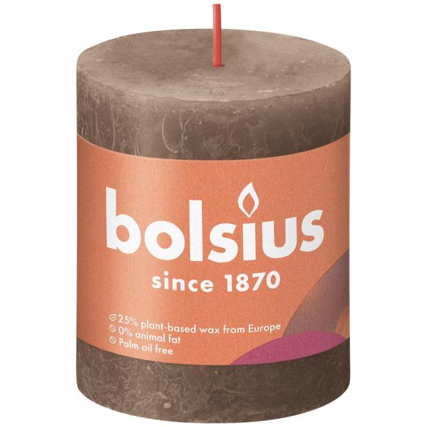 Bolsius Rustikkerze Shine 80/68mm Wildleder Braun