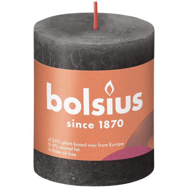 Bolsius Rustikkerze Shine 80/68mm Stürmisches Grau