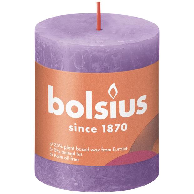 Bolsius Rustikkerze Shine 80/68mm Blühendes Veilchen