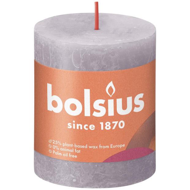 Bolsius Rustikkerze Shine 80/68mm Gefrorener Lavendel