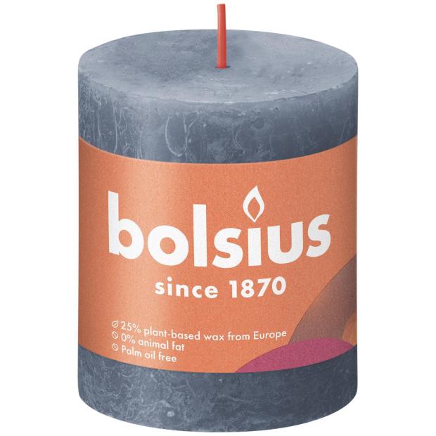 Bolsius Rustikkerze Shine 80/68mm Hortensienblau